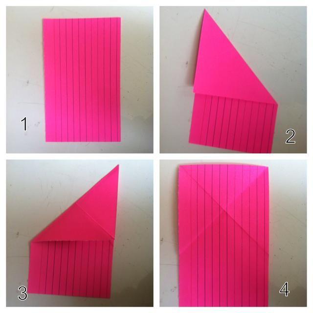 1 = color del conejito hacia abajo. 2 = veces esquina derecha abajo desarrollarse. 3 = pliegue del córner izquierdo abajo desarrollarse. Ahora u tiene un'x'.