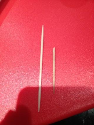 Ajustar el extremo del palillo para que sea contundente