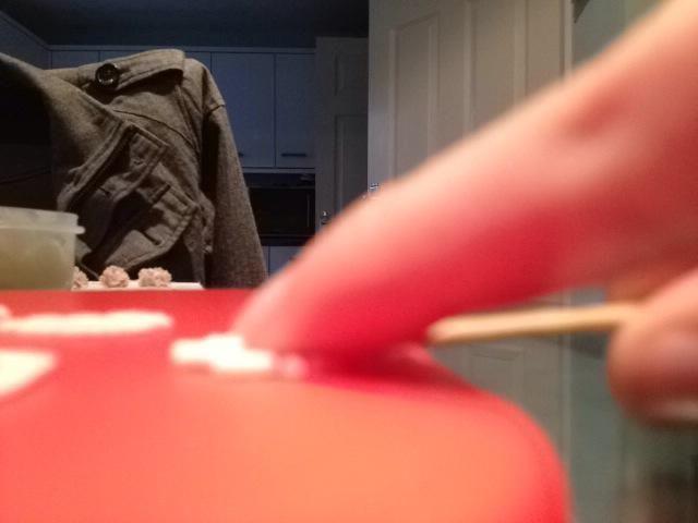 Utilizando el empuje palillo en los pétalos y el rock para hacer pequeños guiones