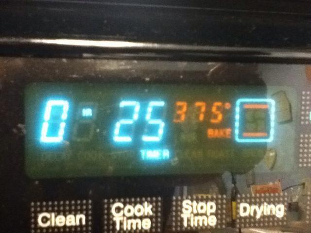 Horno debe ser al 375 por 25 minutos