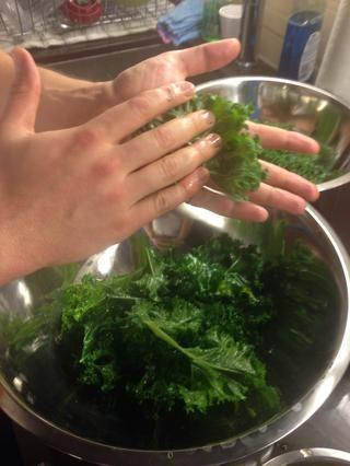 Kale Frote con un poco de aceite de oliva y una pizca de sal. Ayuda a llevar la amargura.