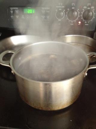 Agregue las 6 bolsas de té negro. El té verde también funciona. Sólo don't use tea sweetened with oils like in some herbal teas. That may cause the kombucha to mold.