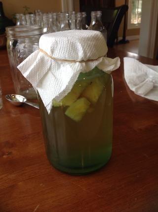 Cúbrase Kombucha durante 4-7 días y poner en un lugar cálido hasta que se alcance la fermentación deseada. Esta es la etapa en la que se añade la efervescencia. Retire la fruta y se vierte en botellas.