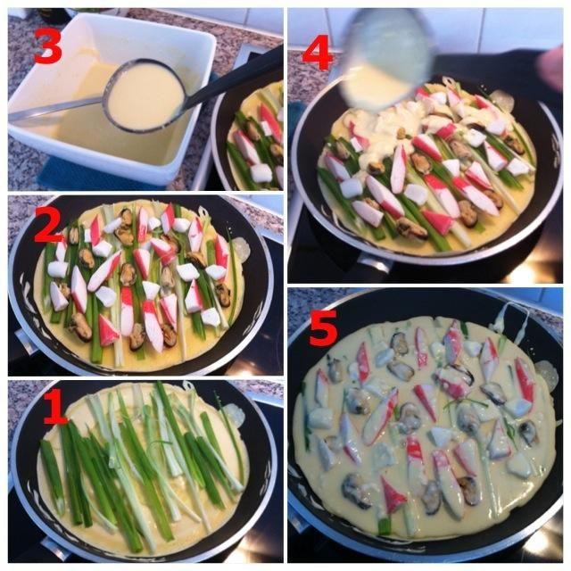 1) Añadir primavera Cebollas 2) Añadir seafood- 3) Utilice una cuchara de sopa para sacar tipo mixto 4) Añadir la mezcla en la parte superior de productos del mar / primavera Cebollas 5) Asegúrese de que cubre mariscos / cebolletas