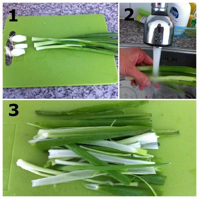 1) Cortar los extremos de la primavera Cebollas 2) Lave IT- 3) Cortar en mitades
