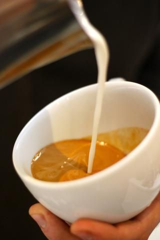 Ahora vierta la leche en desde lo alto de la copa. usted'll use gravity to your advantage. The foam will enter into the espresso and begin to fill the cup, keeping a layer of beige espresso above it.