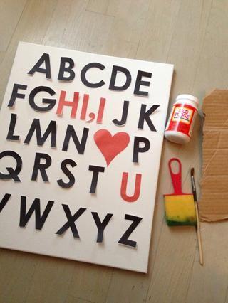 Coloque las letras en el lienzo.