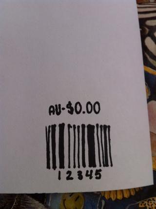En la esquina inferior derecha elaborar un código de barras y el precio en la parte superior