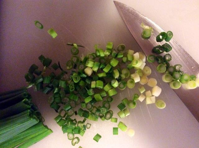 Corte rodajas finas las cebollas verdes.
