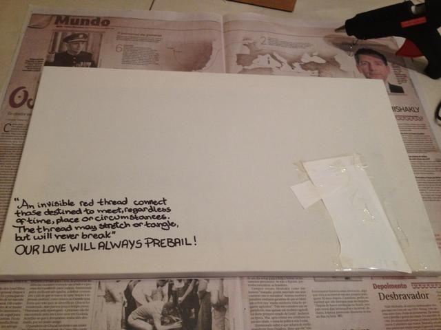 Escribe lo que quieras en el lienzo con la pluma permanente y pegar una imagen con pegamento normal (o dibujar algo). Es hora de ser creativo! Además, se puso un poco de papel en la parte superior de la misma y añadir un poco de cinta.