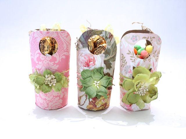 Cómo hacer cestas de Pascua Desde Mini rollos de papel higiénico