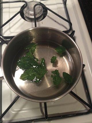 Aplastará las hojas de menta ligeramente y se situará en el agua azucarada caliente. Deje que el agua se enfríe a temperatura ambiente.