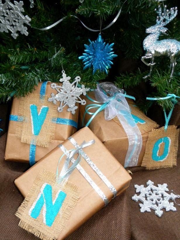 Fotografía - Cómo hacer etiquetas de regalo monograma de la arpillera