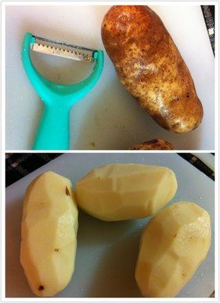 Luego, u puede elegir cualquiera de pelar la piel o guardarlo. Si ur utilizando las patatas con piel delgada, u probablemente puede guardarlo primo piel de la patata tiene buenos nutrientes! :)