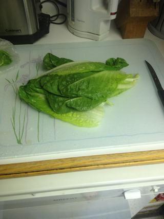 Me lavé un poco de lechuga. Me gustaría tener la espinaca, pero esta es una ensalada nevera vaciado.