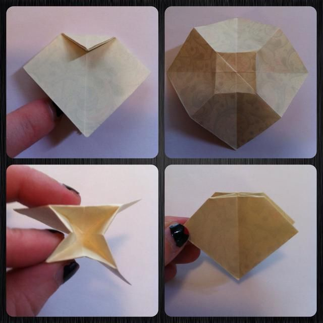 Hunde la parte superior = pliegue apuntar hacia abajo (tenga en cuenta que's folded point of square). Unfold. Pinch to mountain fold the center square. Push in center of square & pinch 'n squish back to square base.