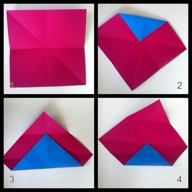 1 = pliegan en medio de ambas maneras n se desarrollan, se pliegan en medio punta a punta en ambos sentidos n se desarrollan. 2 = veces tapa de la extremidad al jardín central, despliegan. 3 = veces punta inferior al pliegue step2, despliegan. 4 = veces punta inferior al pliegue paso 3, se despliegan.