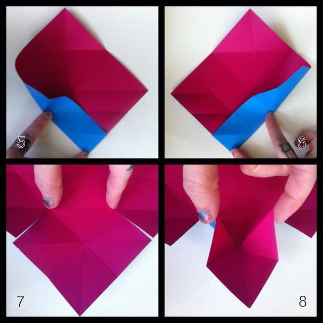 5 y 6 = pliegue entre el pulgar n dedo como shown- los pliegues harán un'x' as seen in step7. 7=cut to where my thumb n finger are as shown. 8=pinch tips together- starting squash fold.