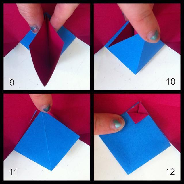 9 = continúan apretando hasta que tocan. 10 = tomar punta abajo hacia arriba. 11 = calabaza calabaza Flat- pliegue completo. 12 = pliegan arriba punta hacia abajo como se muestra.