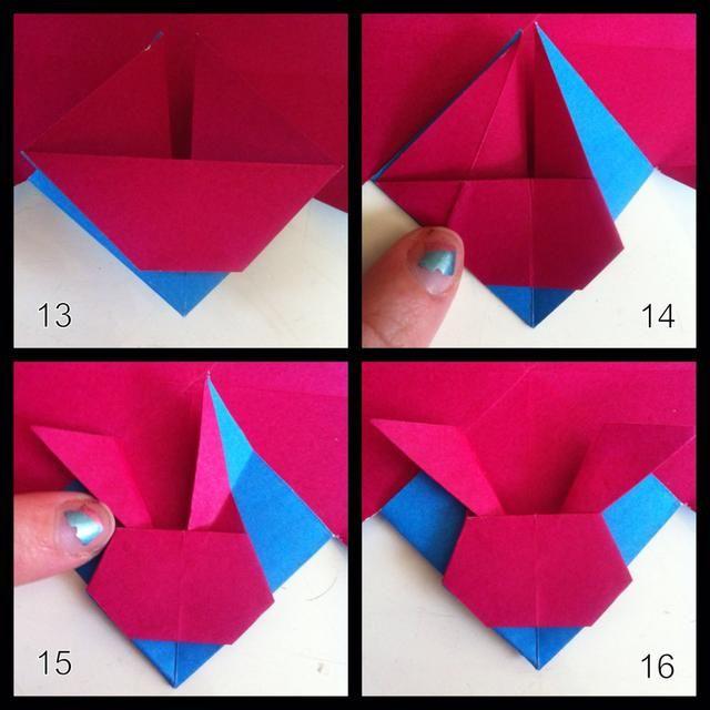 13 = doblez capa superior hacia abajo. 14 = siga pliegue se muestra en el lado izquierdo, doble detrás en ambos lados. 15 = siga pliegue en el lado derecho, el oído pliegue borde downward- de toques oído cara. 16 = aviso veces se hace detrás de la cabeza.
