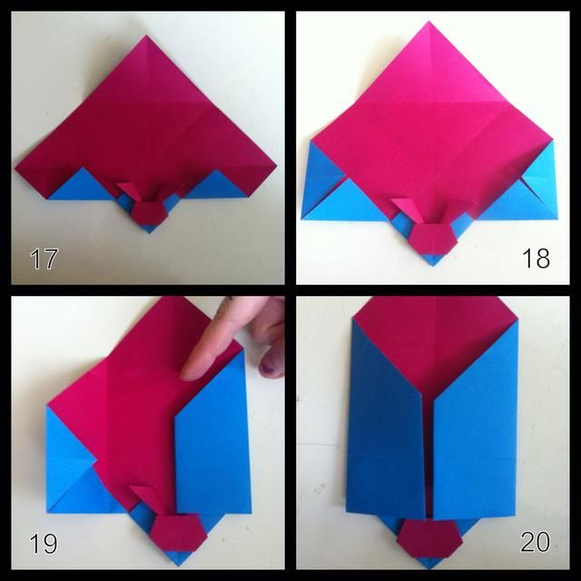 17 = veces extremidades inferiores hacia arriba. 18 = derecha pliegue n consejos izquierda hacia adentro como se muestra. 19 = pliegue borde derecho del centro. 20 = doblez dejaron borde del centro.