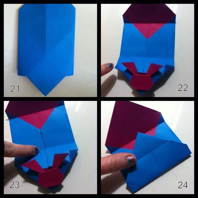 21 = la vuelta. 22 = derecha pliegue n dejados consejos como se muestra. 23 = utilice este pliegue de doblar abajo hacia arriba. 24 = usar este pliegue para plegar hacia abajo ...