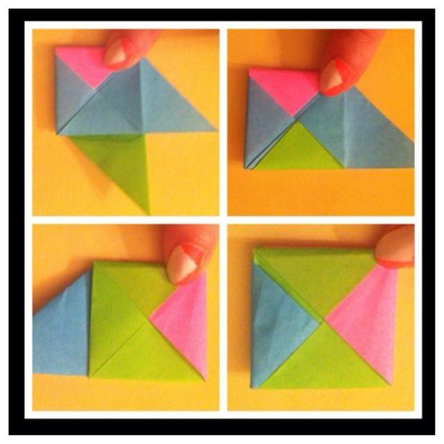 Meta de color rosa en el bolsillo azul - pic1. Meta verde en el bolsillo azul - pic2. Dé la vuelta - pic3. Meta azul en el bolsillo verde - Foto 4. Hecho w / plegado. Note que es plano, así que puedes pegarlo en ur bolsillo y tomar w / u!