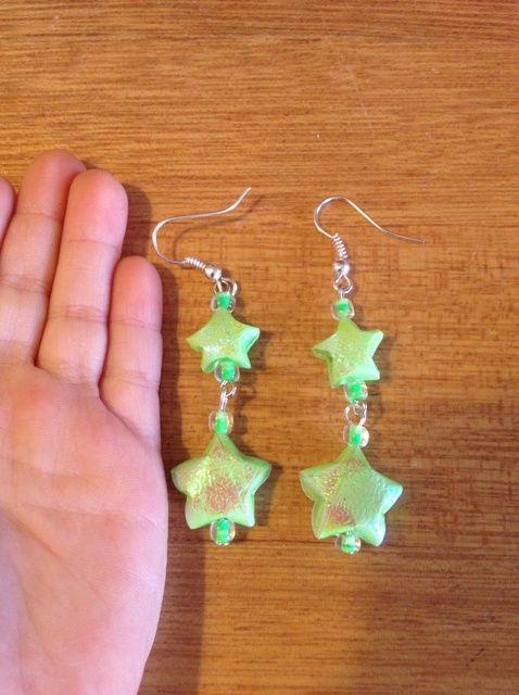 Cómo hacer pendientes Origami Lucky Star