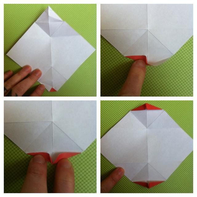 Papel completamente abierto hacia arriba. Nosotros're going to use creases we just made. Fold little triangle up. Fold bottom left up. Fold bottom right up & pinch middle. It's standing straight up. Repeat on other side.