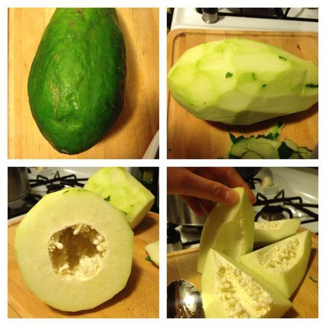 Pelar la piel verde y luego comer sólo la carne (tirar las semillas en el centro).