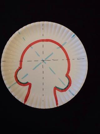 Para agregar el área mandíbula / dientes, dibujar una línea recta que baja desde el final de cada uno de esos 2 pequeñas curvas que ha realizado en el último paso. Aquí, los pasos para su cráneo son todos muestran en rojo.