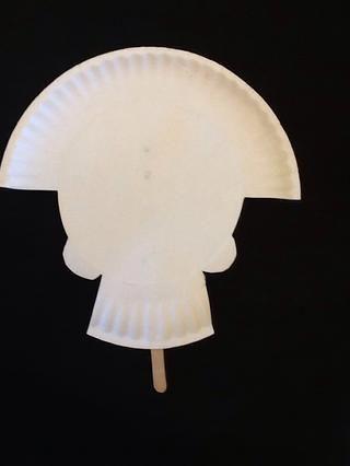 Ok, darle la vuelta. Esto debe ser lo que se tiene hasta el momento! Ahora la parte divertida ... decorarlo! :-) Recuerde: los dientes van abajo en la sección llena de baches de la placa. ¿Será la tuya llevar un sombrero o una corona de rosas?