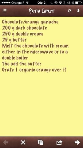 Un resumen de la preparación de chocolate y naranja ganache. Media de esta receta es suficiente para 45 macarons