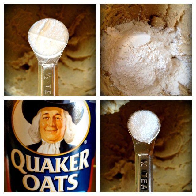 Agregar el bicarbonato de sodio, la sal y la harina. Mezclar, a continuación, agregar la avena.