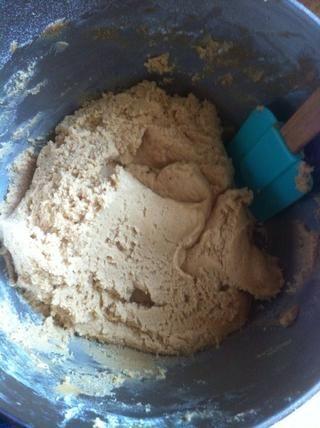 Mezclar la harina, el bicarbonato de sodio y polvo de hornear. Debe tener un aspecto como este.