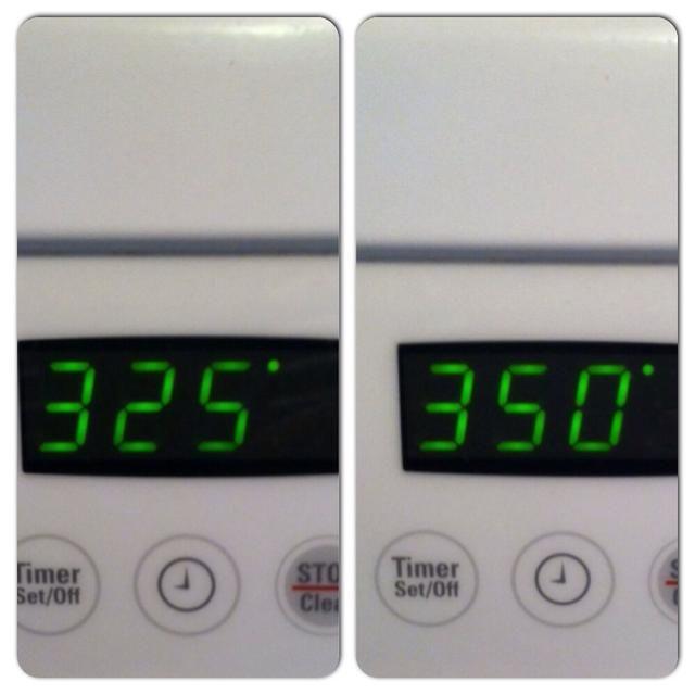 Precaliente el horno. Ajuste el horno a 325 F o 350 F. En realidad depende de su horno. Si su horno funciona el refrigerador es posible que desee probar 350F, 325F, pero funcionó muy bien para mí.