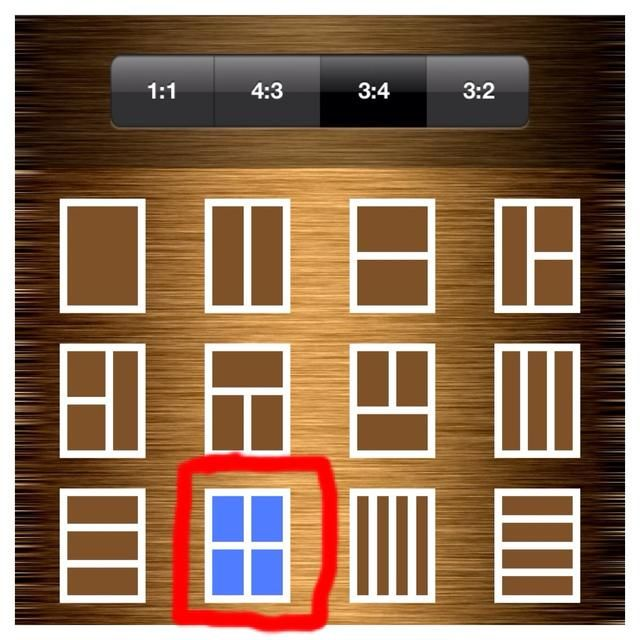 Bajo 3: 4, ahora elegir el marco con cuatro ranuras de fotos.