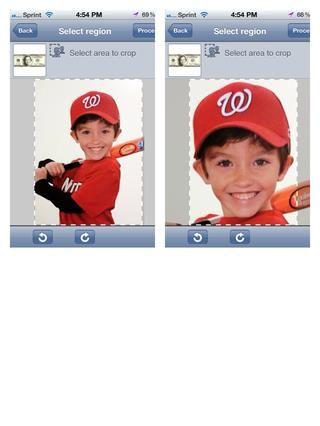 Recortar la foto por lo que sólo la cabeza de la imagen se ajusta en el área seleccionada. A continuación, pulse proceso.