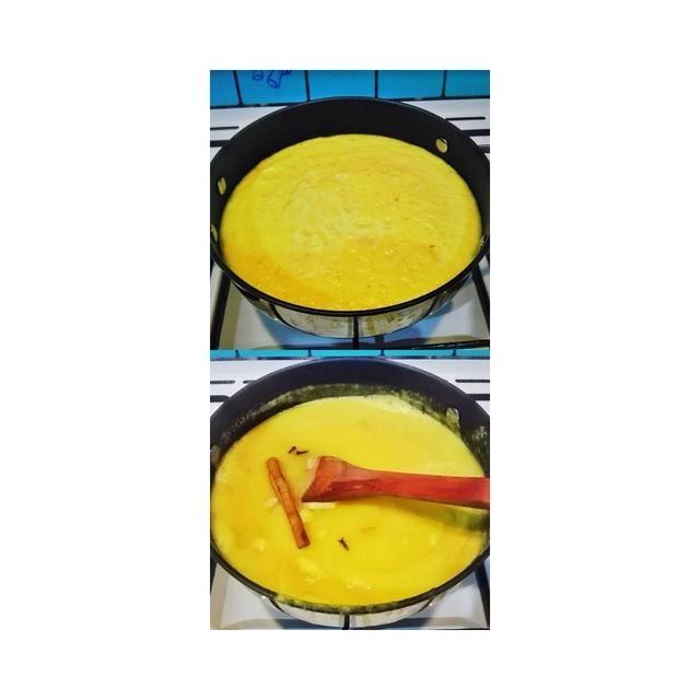 TOP PIC: verter toda la piña mezclado en la sartén. Y calentarlo y se deja durante unos minutos PIC INFERIOR: a continuación, añadir en el palo de canela, clavo y cardamomo. * canela demasiado tiempo para esto: s