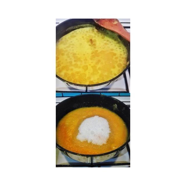 TOP PIC: se deja hervir hasta que la mezcla de agua con la piña mezclado es 20% ido PIC INFERIOR: hasta que la textura es un poco seco, a continuación, añadir en el temp Sugar.High. Para el paso anterior y la temperatura para este med