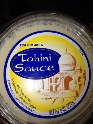 Tahini salsa- que's a paste made from sesame seeds and adds a nutty background.
