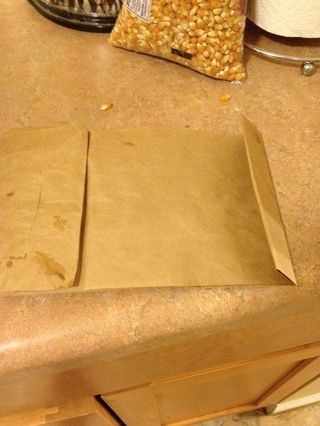 Acoplar bolsa con granos en ella! Coloque la bolsa en el microondas este lado hacia arriba durante 5 minutos. Mira de cerca como su horno de microondas puede ser más rápido que el mío.