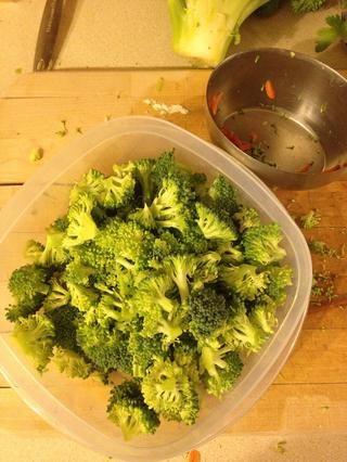 Picar dos tazas de brócoli. Dejar de lado.