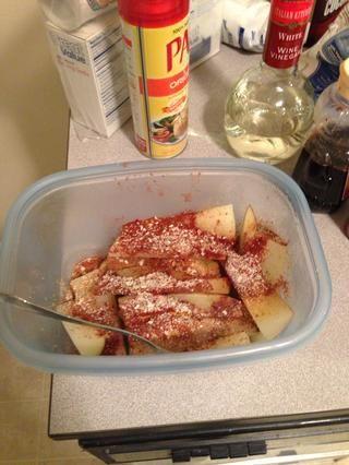 Puse unos 2 cucharaditas de las patatas. Adición de la pimienta sería bueno también, me olvidé. : /