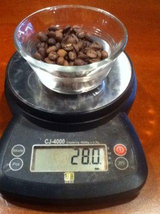 Mida 28 gramos de su café