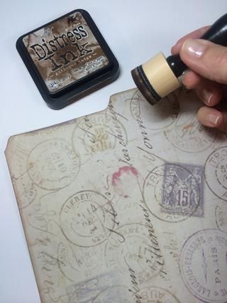yo'd desired, ink distress the edges with a blending tool or sponge.
