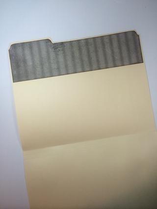 Bordes de tinta, si se desea, y se adhieren a la parte interior de la carpeta.