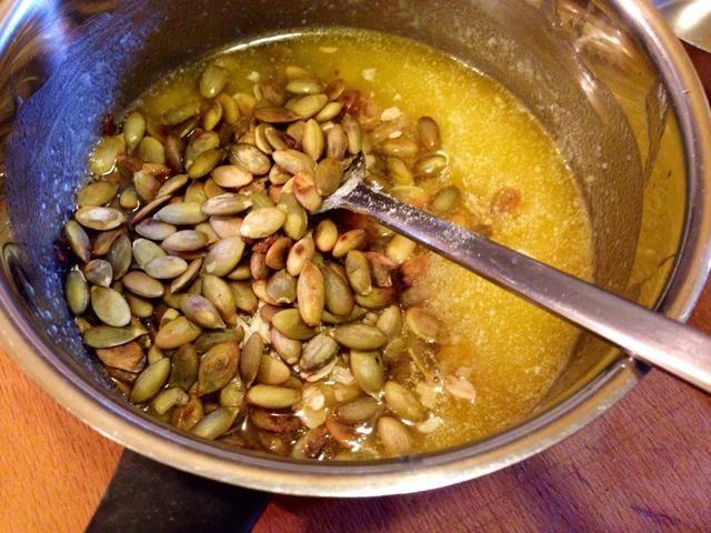 ..y las semillas de calabaza tostadas.