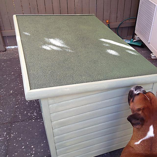 Para el techo, barrer cualquier cosa-grava como suelto. Comience glooping pintura en generosamente a entrar en la superficie rugosa. A medida que el acrílico se seca debe unirse el material suelto - agradable y ordenado!
