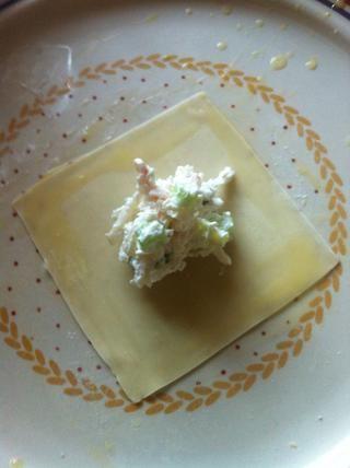 utilizar una mezcla de huevo y mojar los 4 lados de la envoltura. (apenas batir un huevo y añadir un poco de agua para el lavado de huevo) trate de no ser demasiado complicado en esta parte o todo estará resbaladiza y asqueroso.